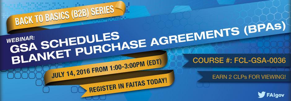 Back to Basics Series: GSA Blanket Purchase Agreements (BPAs) Webinar
